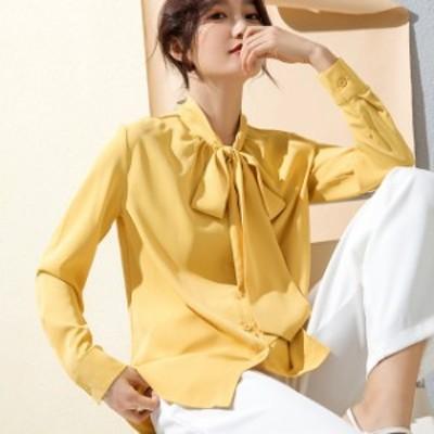 シャツ ブラウス トップス シフォンシャツ 大きいサイズ リボンネクタイ 長袖 ストライプ シンプル レディース