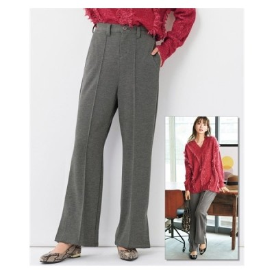 パンツ ブーツカット 大きいサイズ レディース カットソー セミフレア ゆったりヒップ L/LL/3L ニッセン nissen