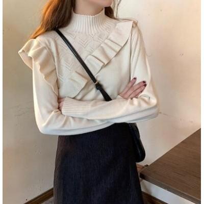 韓国 ファッション 4色 セーター トップス フリル ハイネック 長袖 カジュアル 大人可愛い 韓国 オルチャン ファッション
