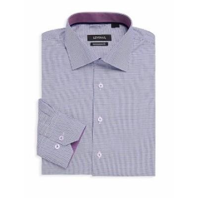 レビナス メンズ ドレスシャツ ワイシャツ Contemporary-Fit Houndstooth Cotton Dress Shirt