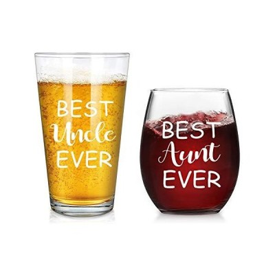Uncle & Aunt Beer Glass and Stemless Wine Glass Set for Men Women Newlywed