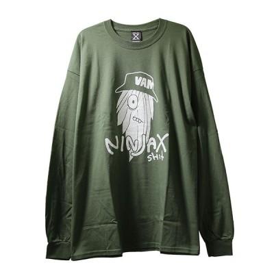 NINJA X (ニンジャエックス) オリジナル ロンT ロングTシャツ 長袖 Hairy Long Sleeve T-Shirt Military メンズ カジュアル ストリート スケボー SKATE