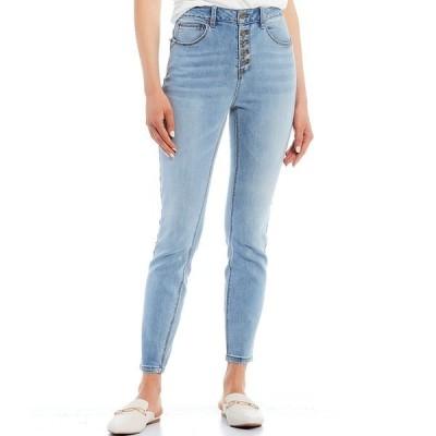 エーラブスエー レディース デニムパンツ ボトムス Button Up Skinny Denim Jeans Light Blue