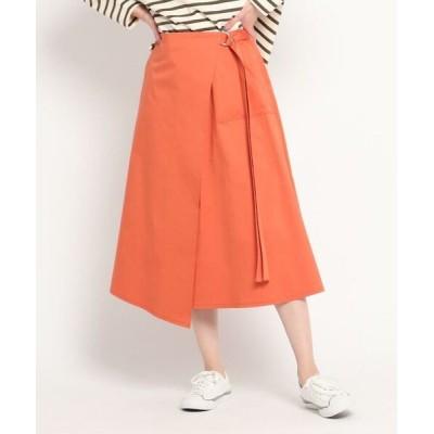 Dessin/デッサン 【S~L】コットンサテンラップ風スカート ライトオレンジ(066) 03(L)