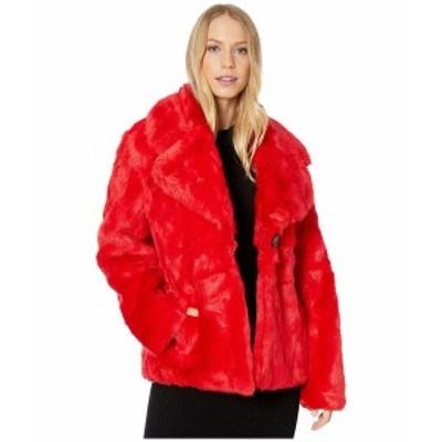アベックレフィレ レディース コート アウター Cropped Faux Fur Jacket Red