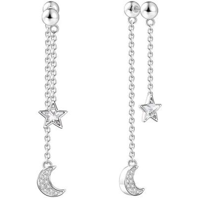 SOUFEEL レディース ロングピアス 揺れる チェーン 星と月 シルバー 925 スワロスキー ファッション イヤリング …