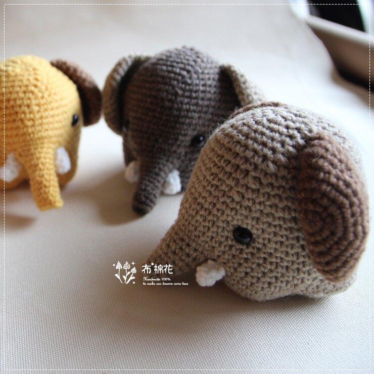 【布棉花】手創, 手作鈎織娃娃, 長鼻子大象, 毛線大象, 大象+象牙