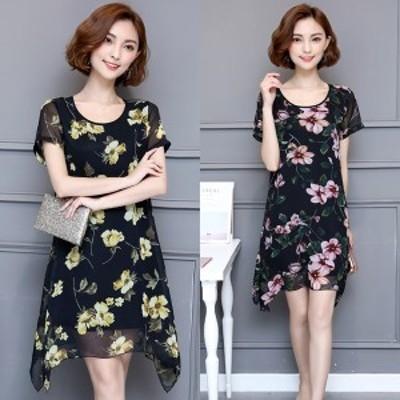 ワンピース ドレス ミニ丈 半袖 花柄 ラウンドネック ゆったり シースルー シフォン スリット 大きいサイズ 夏 通勤 デート