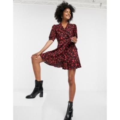 トップショップ レディース ワンピース トップス Topshop wrap dress in red floral Red