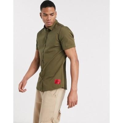 フューゴ メンズ シャツ トップス HUGO Empson-W short sleeve shirt in khaki