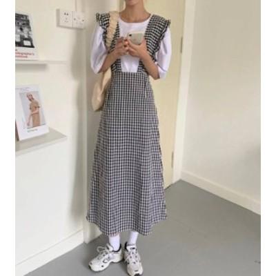 ギンガムチェック ジャンパースカート ロング フリル ハイウエスト フレア ガーリー 大人可愛い 韓国 オルチャン ファッション