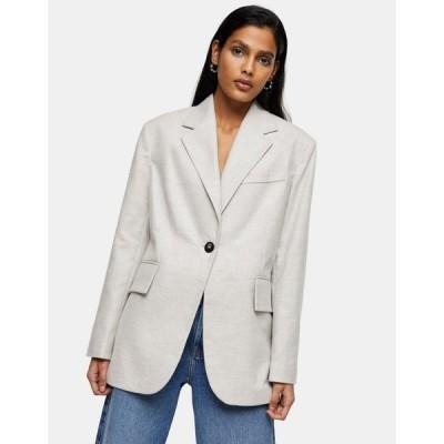 トップショップ Topshop レディース スーツ・ジャケット アウター flannel blazer in grey グレー