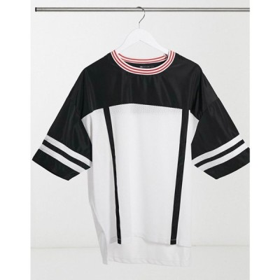 エイソス ASOS DESIGN メンズ Tシャツ ロング トップス Oversized Longline T-Shirt In Mesh With Woven Contrast Yoke And Tipping ホワイト