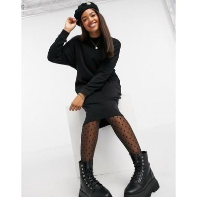 モンキ レディース ワンピース トップス Monki Mindy organic cotton midi sweater dress in black Black