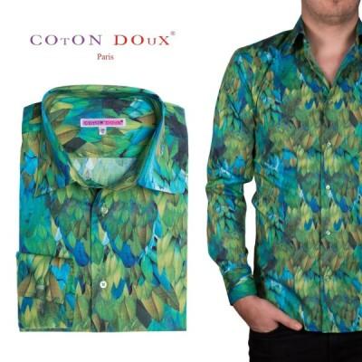 花柄 長袖シャツ メンズ 柄シャツ ブランド 緑 グリーン カジュアルシャツ ステージ衣装 タンゴ ダンス m02ad1922leaf