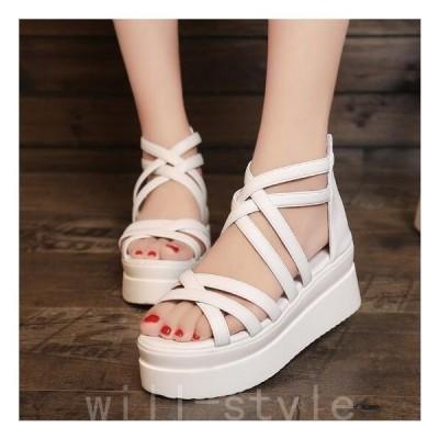 サンダルレディース履きやすい厚底歩きやすいレディース靴シューズストラップウェッジヒールハイヒール美足美脚疲れない痛くないフラットサンダル