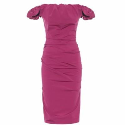 メゾン マルジェラ Maison Margiela レディース ワンピース ミドル丈 ワンピース・ドレス Off-shoulder ruched midi dress Purple