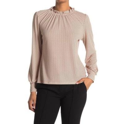 アドリアナ パペル レディース Tシャツ トップス Ruffle Mock Neck Printed Blouse CHPGNSMLDT