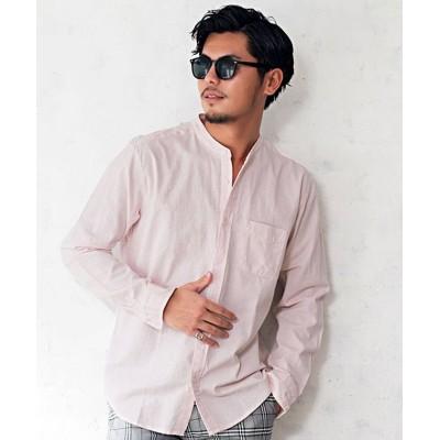 【シルバーバレット】 CavariA バンドカラー長袖パナマシャツ メンズ シャツ 長袖 おしゃれ パナマシャツ カジュアル ブランド バンドカラー 無地 ストライプ 綿100% コ メンズ ピンク 44(M) SILVER BULLET