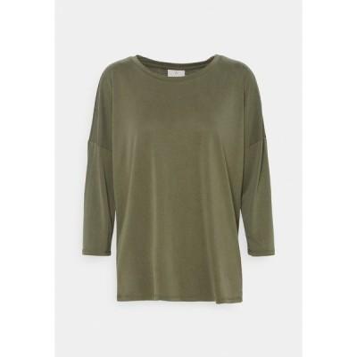 カフェ カットソー レディース トップス KALINE OVERSIZE FIT - Long sleeved top - washed capulet olive