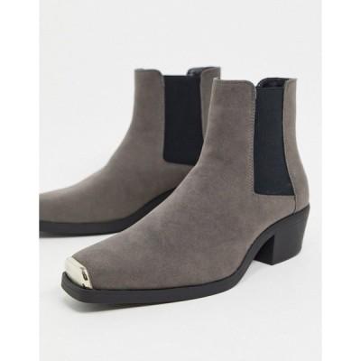 エイソス メンズ ブーツ&レインブーツ シューズ ASOS DESIGN cuban heel western chelsea boot in gray faux suede with square toe with metal cap Grey