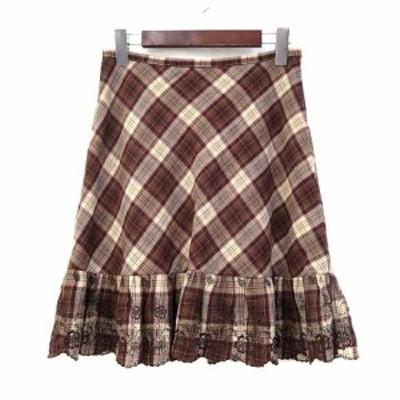 【中古】エル ELLE UNEVIEAVEC スカート 38 M 茶 ブラウン ウール ミニ チェック 刺繍 フリル レディース