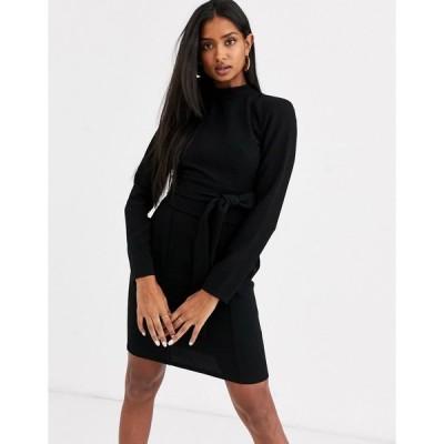 エイソス ミニドレス レディース ASOS DESIGN long sleeve mini dress with obi belt エイソス ASOS ブラック 黒