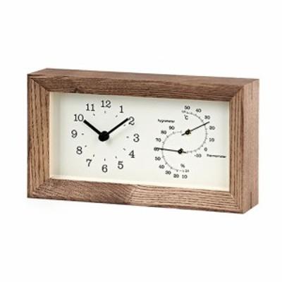 タカタレムノス FRAME(フレーム) 温湿度計付 LC13-14BW ブラウン│時計 置き時計