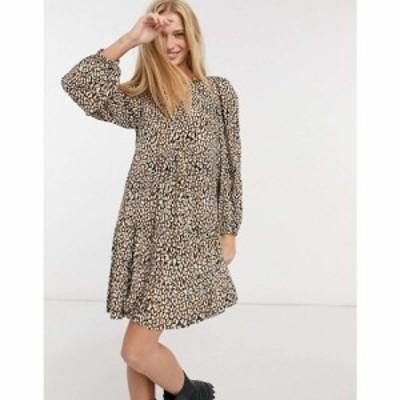 マンゴ Mango レディース ワンピース ティアードドレス ワンピース・ドレス Tiered Mini Smock Dress In Animal Print ブラック