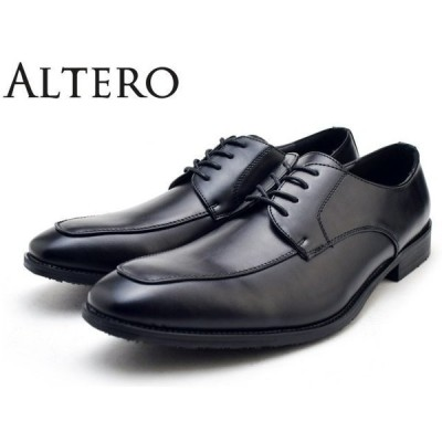 ALTERO (アルテロ) 32000 (BLACK) メンズ 軽量 ビジネスシューズ 革靴  紳士靴 幅広 3E 防水 防滑 Uチップ