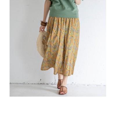 麻混ベルト付きプリントスカート
