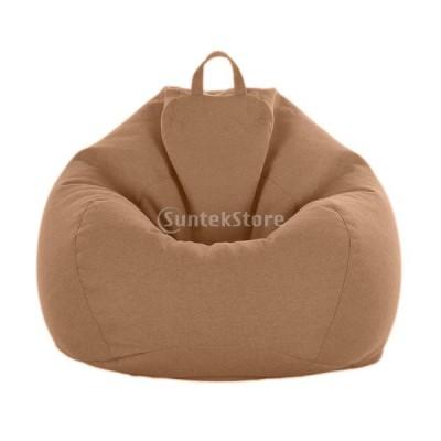 ビーンバッグカバー ぬいぐるみ ストレージバッグ ソフト 全10色 収納袋 多機能 耐久性 - ブラウン