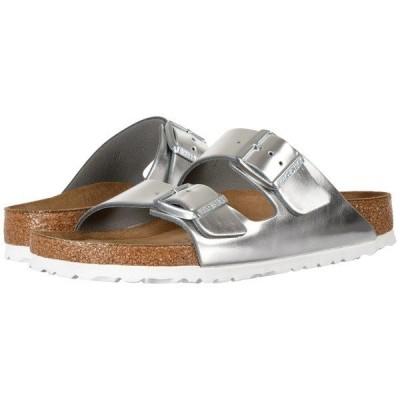 ビルケンシュトック サンダル シューズ レディース Arizona Soft Footbed Metallic Silver Leather