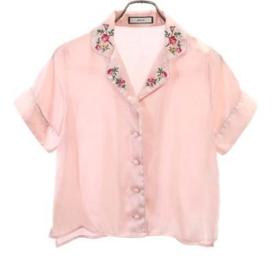 ジュエティー ルームウェア 半袖 シャツ M ピンク jouetie 刺繍入り レディース 古着 200809 メール便可