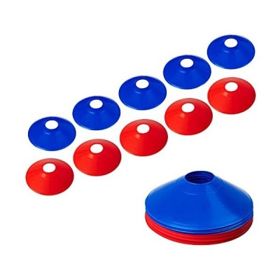 マーカーコーン カラーコーン マーカーディスク サッカー/フットサル用 カラーコーン 青と赤 10枚セット収納袋付き