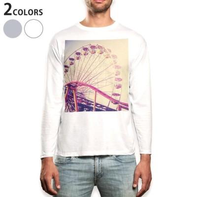ロングTシャツ メンズ 長袖 ホワイト グレー XS S M L XL 2XL Tシャツ ティーシャツ T shirt long sleeve  観覧車 ビンテージ 写真 011306