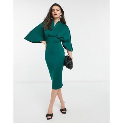 エイソス レディース ワンピース トップス ASOS DESIGN structured cape pencil wrap midi dress in forest green Forest green