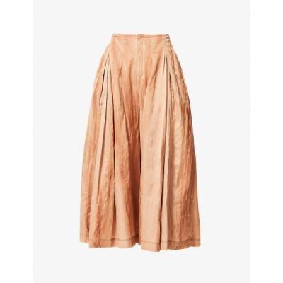 パイドン PHAEDO レディース ロング・マキシ丈スカート スカート Flared cotton and silk-blend maxi skirt Tan