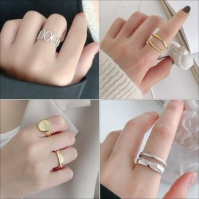 [2021 人気商品] シンプル 気質 両層 冷淡風 指輪 女性用 韓国 清新 開き口 調節でき ゴ