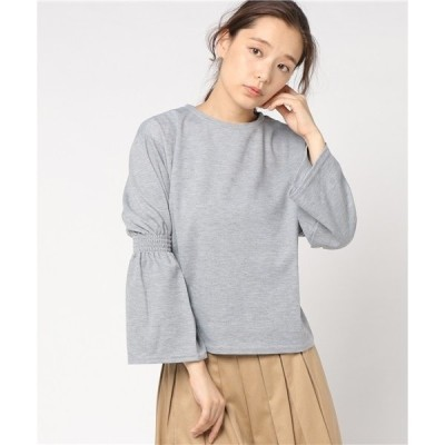 tシャツ Tシャツ ポンチ素材袖フレアートップス