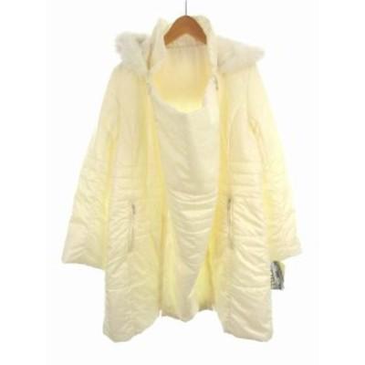 【中古】未使用品 シェ ママン CHEZ MAMAN 中綿 コート フード フォックスファー ジップアップ ママコート 前抱っこ