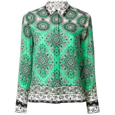 アリス&オリビア シャツ ジャケット レディースAlice+Olivia Willa Boho Romance-print silk shirtGreen