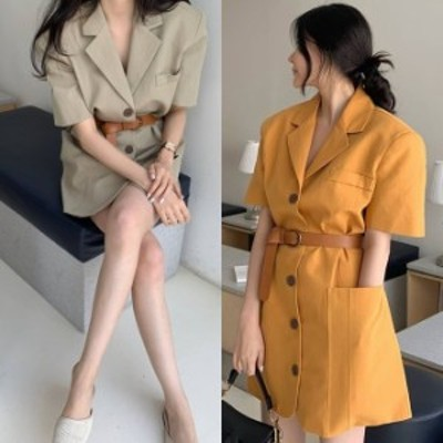 ワンピース ジャケット ウエストマーク 韓国 ファッション レディース 半袖 ボタン テーラード ワンピース サファリジャケット 夏服 レデ