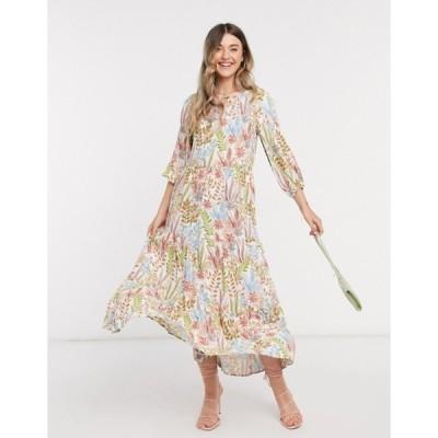 ワイエーエス レディース ワンピース トップス Y.A.S tiered maxi dress in cream floral