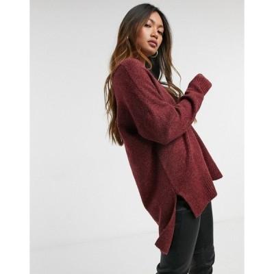 ヴェロモーダ レディース ニット&セーター アウター Vero Moda wool mix sweater with v neck in burgundy Burgundy