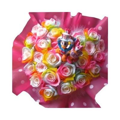 誕生日プレゼント ドナルド デージー入り 花 レインボーローズ プリザーブドフラワー入り ハート フラワーギフト ケース付き 20×30 バ