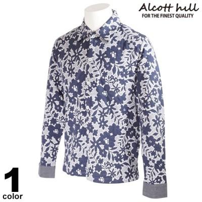 ALCOTT HILL アルコットヒル 長袖 カジュアルシャツ メンズ 秋冬 レギュラーカラー 花柄 総柄 イルカ 17-1004-10