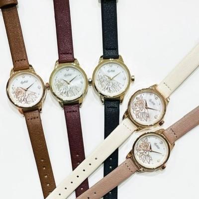腕時計 お花 ロージー シェル レディース ファッションウォッチ【1年保証書付き】QKS200
