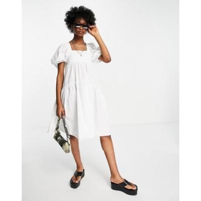トップショップ Topshop レディース ワンピース Aライン ワンピース・ドレス poplin tiered midi dress in white ホワイト