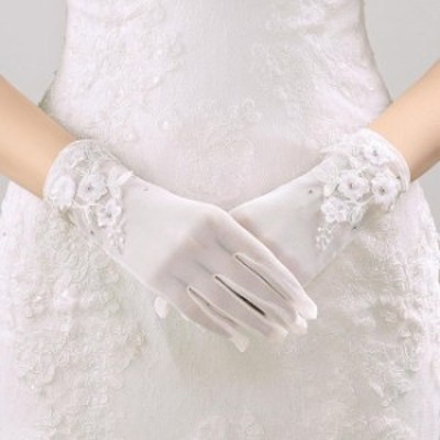 結婚式 ウェデイング ブライダルグローブ 高級レースショートグローブ 花嫁 二次会 刺繍手袋 パーティー ウェディングドレスと一緒に9930